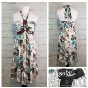 Buba Moda S Bead Embellished Ruffled Halter Dress